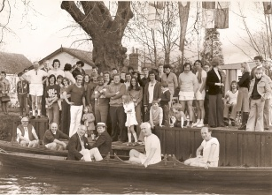 "The end of the 100 mile row in 1977 with our most senior members in the boats. To celebrate opening of the ""new"" (now previous) clubhouse on Runnymede."