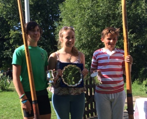 Youth beats experience - Paddy O'Neill & Zac are presented with their trophy by Anna Roberts after winning the Rockin Robin Races.