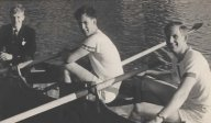 John Wakley, Keith Powell and Brian Dodds winning Gents Junior Doubles at Chertsey Regatta in 1958